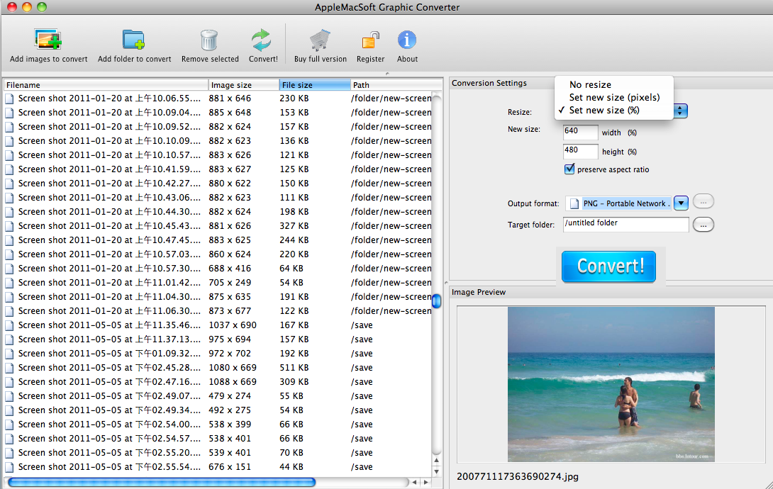 Mac graphic converter batch convert images files and resize photos screenshot of mac graphic converter ccuart Images
